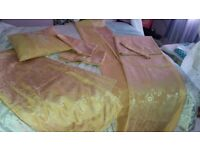 Amazing king size gold full bed set, curtains,duvet, pillow cases, thick bed throw