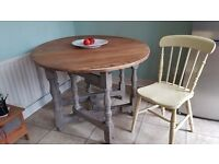 SHABBY CHIC DINING / KITCHEN TABLE. WAXED OAK TOP WITH GREY GATE LEG