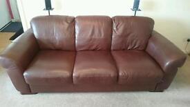 3 piece brown violina leather suite £115