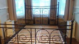 Ikea black ornate kingsize metal bed frame
