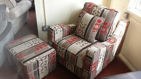 New armchair with opened footstool