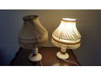 2 x Table Lamps: Retro Bulb Bed Side Lamp Ceramic Aged Vintage Antique Art Deco Baroque