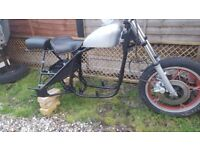motorcycle forks,front wheel with twin disc braking believed to be Suziki GS550 late 70s, early 80s