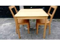 BEECH SQUARE TABLE AND 2 CHAIRS FREE LOCAL DELIVERY