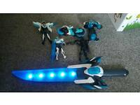 Max Steele toy figures and light up sword with sounds