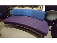 Upholstered Purple/Blue Curved Sofa