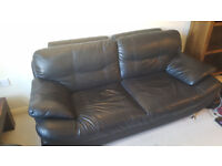 Sandy 3 seater and 2 seater sofas in black - faux leather
