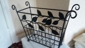 Cast Iron Magazine Rack-Attractive Leaf Design -Collection Runwell Essex