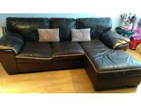 Dfs brown and tan leather corner sofa - slightly deflated on one cushion overall good condition