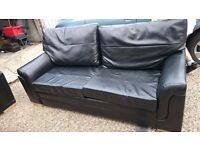 used black sofa and armchair faux leather, £35 for both