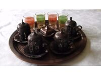 Turkish coffee set, including tray, 4 cup & saucer holders with china inserts, & 4 glasses
