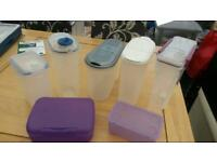 Plastic storage tubs x 7