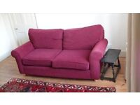 Large, comfy, deep red sofa in excellent condition. Washable loose covers.