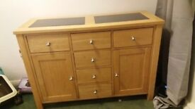 Immaculate condition Harvey's oak and granite sideboard with draws look
