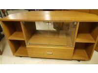 Vintage TV / Media Unit With Glass Doors