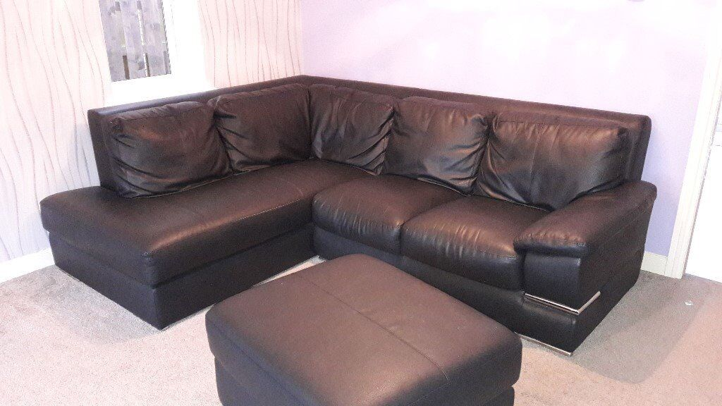 Black Leather Corner L Shaped Sofa Couch C W Chair Footstool