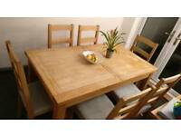 Oak Extendable Dining Table, Sideboard & Chairs