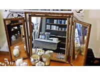 Triple free standing dressing table mirror Antique gold effect