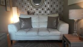 100% Cream Leather DFS 2 Seater Sofa