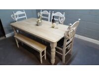 Beautiful Table and chair/bench set- Bespoke-Cream-white-grey