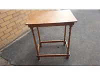 "wooden tables, 2 small wooden tables approx 27""high, bargain."