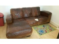 BROWN LEATHER SOFA - 3 SEATER - MINT CONDITION