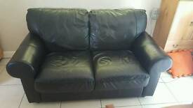 sofa black faux leather two seater price reduced