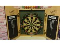 Phil taylor dart board & cabinet. .....where's wally books never been use