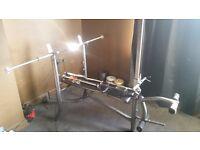 Full setup Gym, Multi exercise bench, 6' barbell, 2 dumbbells, EZ curl bar, all weights adjustable.
