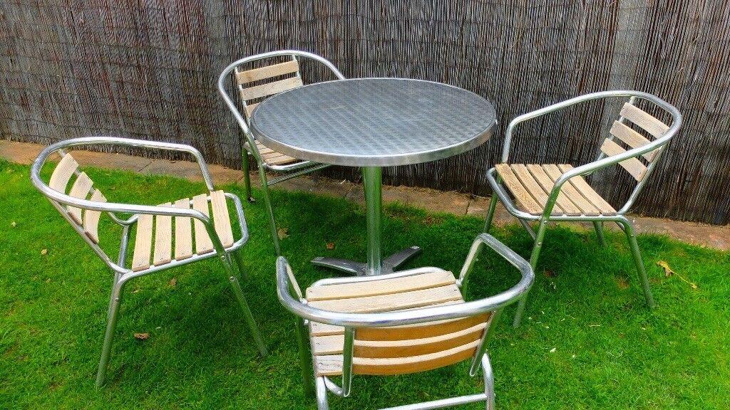 a00a008e5950 Aluminium Stainless Steel and Wood Patio Garden Furniture Ex Theme Park Pub  Bar Industrial