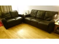 2 piece Brown leather suite