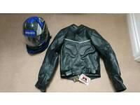 SHOO Leather motorbike jacket and Takachi Helmet