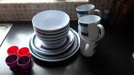 16 piece melamine dinner set and 4 plastic egg cups