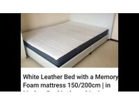 White leather bed with memory foam mattress