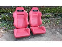 Honda Red Recaro Speed Seats and Rails. Civic EG Integra DC2 B16 B18 K20 H22 VTEC Engine SiR VTI LSI