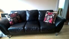 Black Leather 3 seater and 2 seater sofa with footstool