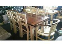 Rustic Farmhouse Shabby Chic dining table and 8 chairs