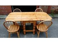 CHUNKY PINE FOLDAWAY SPACE SAVING TABLE AND 4 CHAIRS GOOD CONDITION FREE LOCAL DELIVERY