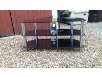 black solid gloss glass tv stand