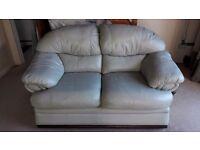 2 Seater Leather Sofa & Pouffe