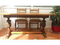 Old English dining table and chairs