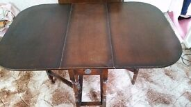 Vintage Drop Leaf Oak Dining Table with Chairs