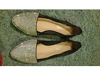 Brand New Silver Sparkly Flat Shoes Ballet Pumps