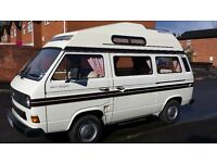 VW Volkswagen T25 Autosleeper Trident 4 berth high top campervan. 1987 only 65,000 miles from new.