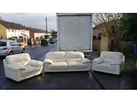 Harvey's 3,1,1 seater sofa in proper Hyde cream leather throughout, very heavy,well made £305!