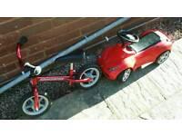 Balance bike and ferrari kids car
