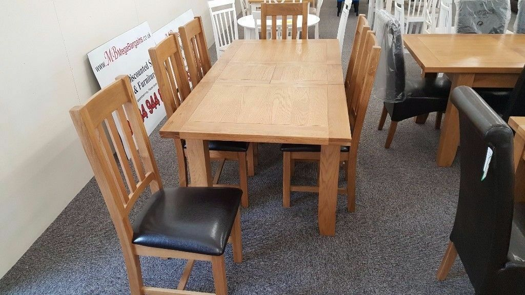 Julian Bowen Astoria Extending Oak Dining Table & 6 Astoria Chairs Free Delivery Derby Nottingham
