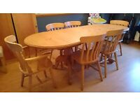 Solid Pine 6ft Table and 6 chairs