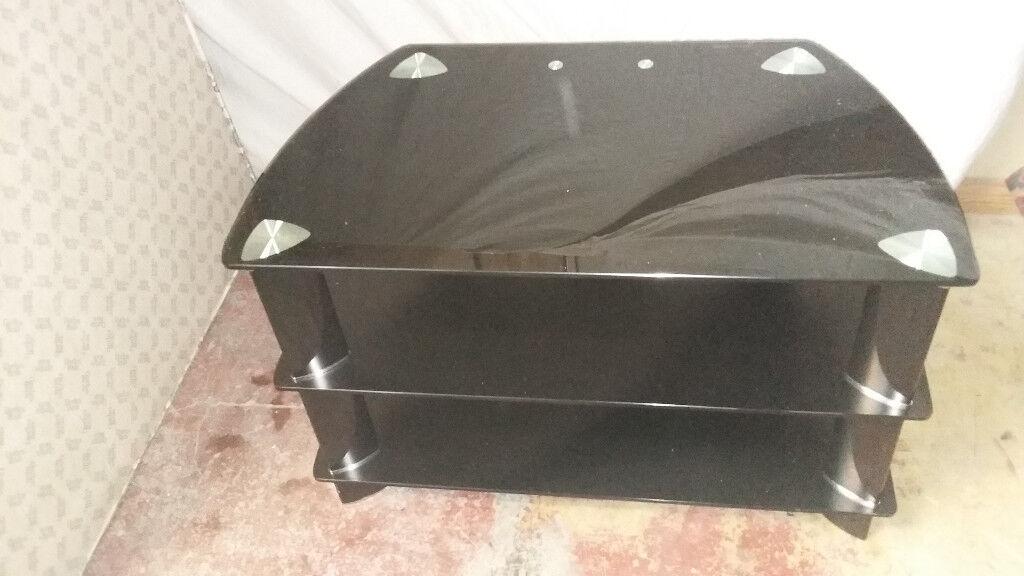 3 shelve long black glass tv stand