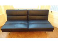 Black faux leather sofa bed (double bed)